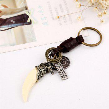 Vintage Resin High Quality Leather Punk Leather Key Ring Pendant - BRONZE
