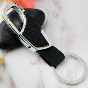 Creative Metal Leather  Keychain - BLACK