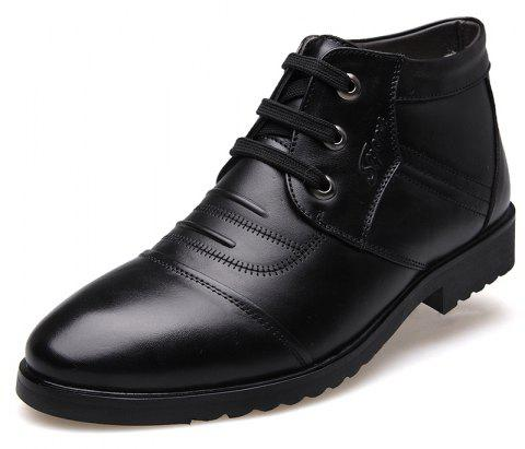 MUHUISEN Winter Fashion Men Casual Shoes High-cut Lace-up Warm Plush Boots - BLACK EU 43