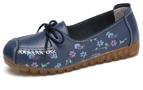 Womens Comfortable Fashion Flat Leather Loafers Shoes - NAVY BLUE EU 35