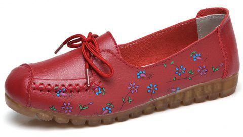 Womens Comfortable Fashion Flat Leather Loafers Shoes - RED EU 35