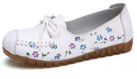 Womens Comfortable Fashion Flat Leather Loafers Shoes - WHITE EU 42
