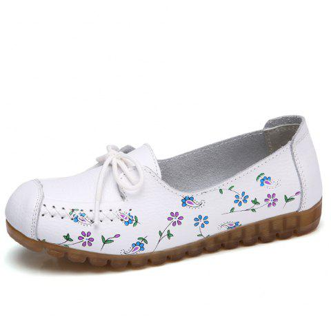 Womens Comfortable Fashion Flat Leather Loafers Shoes - WHITE EU 41
