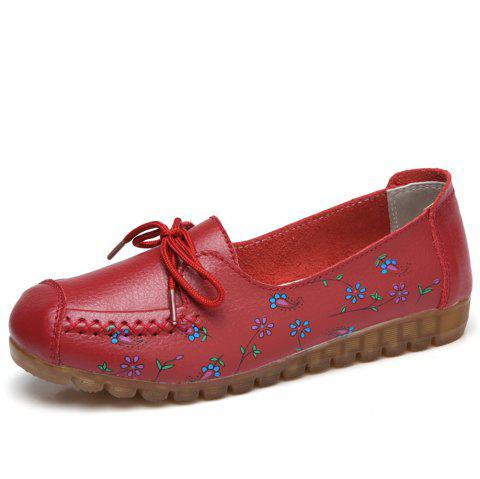 Womens Comfortable Fashion Flat Leather Loafers Shoes - RED EU 41
