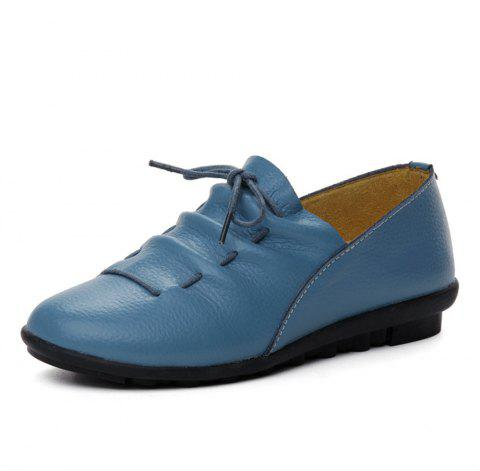 Womens Casual Comforable Light Weight Leather Loafers Shoes - OCEAN BLUE EU 35