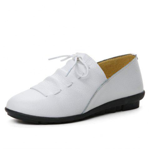 Womens Casual Comforable Light Weight Leather Loafers Shoes - WHITE EU 35