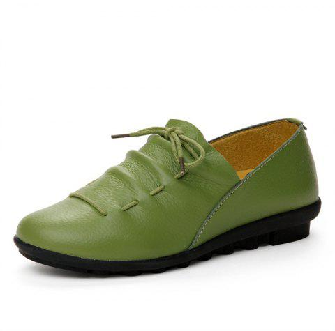Womens Casual Comforable Light Weight Leather Loafers Shoes - JUNGLE GREEN EU 36