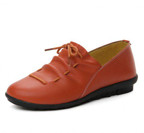 Womens Casual Comforable Light Weight Leather Loafers Shoes - BRIGHT ORANGE EU 35