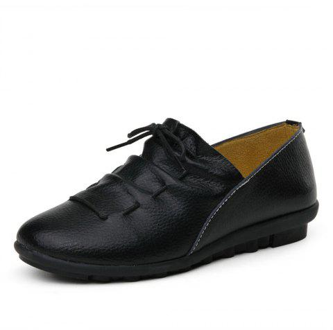 Womens Casual Comforable Light Weight Leather Loafers Shoes - BLACK EU 37