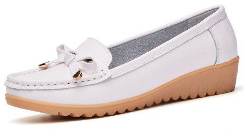Womens Casual Light Weight Flat Leather Loafers Shoes - WHITE EU 39