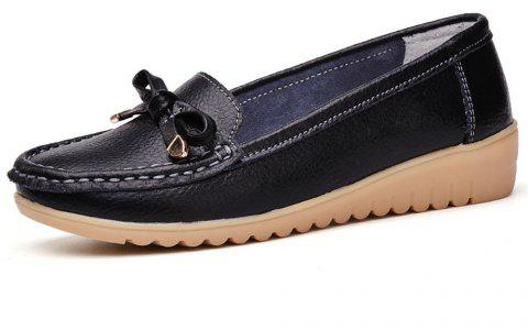 Womens Casual Light Weight Flat Leather Loafers Shoes - BLACK EU 36