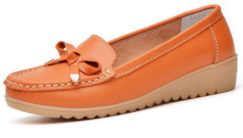 Womens Casual Light Weight Flat Leather Loafers Shoes - ORANGE EU 36