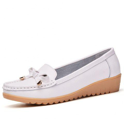 Womens Casual Light Weight Flat Leather Loafers Shoes - WHITE EU 36