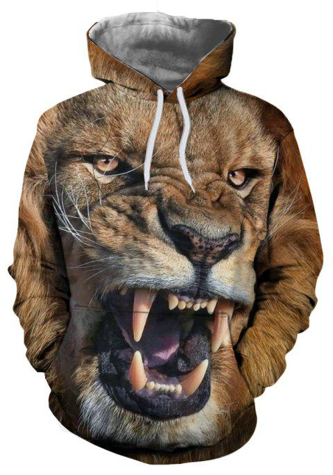 Autumn and Winter Animal Series Digital Hooded Sweatshirt - multicolor A 3XL