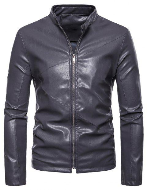 Men's Fashion Personality PU Motorcycle Leather Collar Solid Color - LIGHT GRAY XL