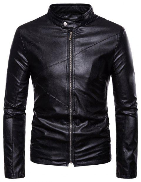 Men's Fashion Personality PU Motorcycle Leather Collar Solid Color - BLACK 2XL