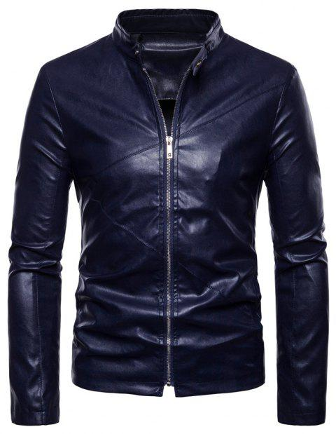 Men's Fashion Personality PU Motorcycle Leather Collar Solid Color - CADETBLUE L