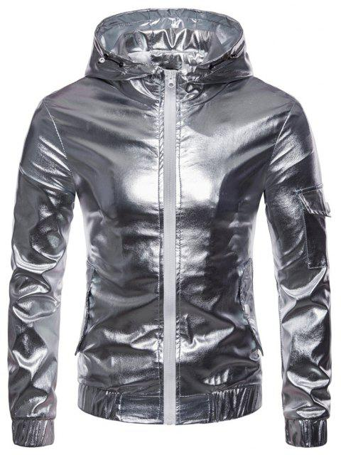 Men's Fashion Personality Solid Color Hooded Zipper Cardigan Leather Jacket - SILVER XL