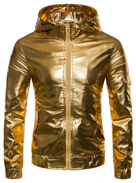 Men's Fashion Personality Solid Color Hooded Zipper Cardigan Leather Jacket - GOLD L