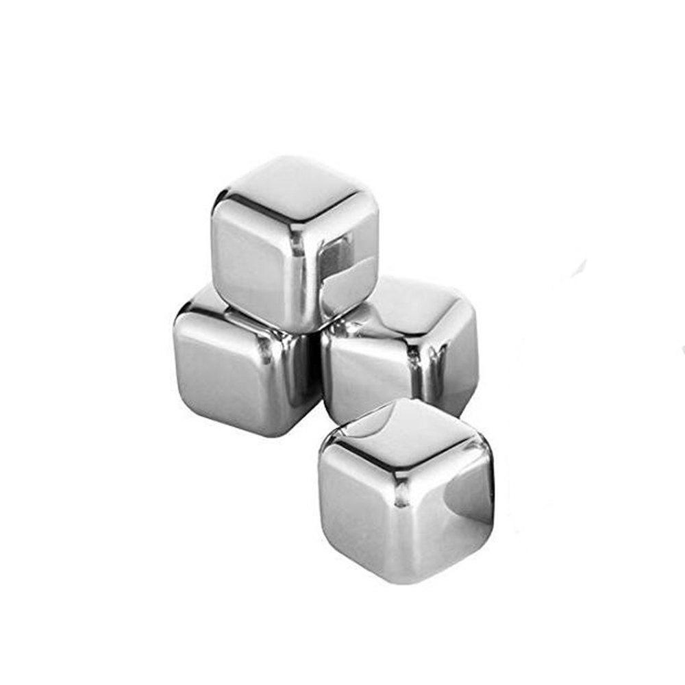 4PC Reusable Square Stainless Steel Ice Cubes - SILVER
