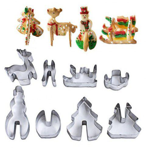 8Pcs 3D ChristmasStainless Steel Cookie Cutters - SILVER