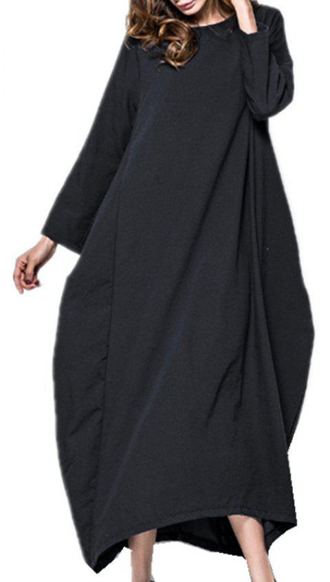 Large Long-Sleeved  Pretty Dress - BLACK L