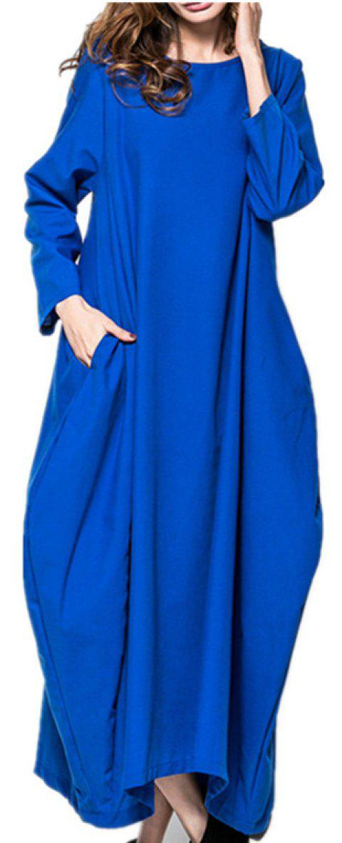 Large Long-Sleeved  Pretty Dress - BLUE L