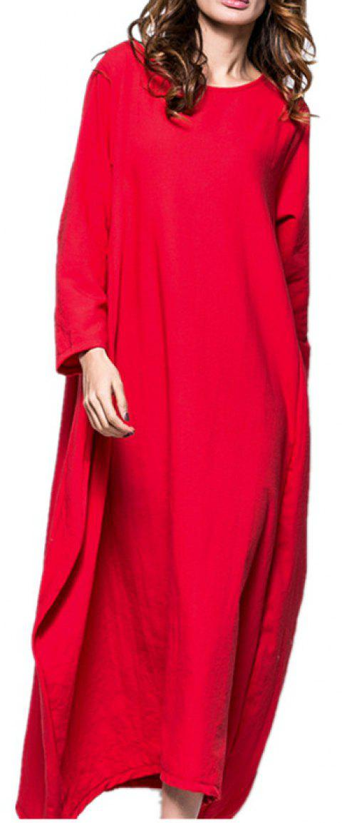 Large Long-Sleeved  Pretty Dress - RED XL