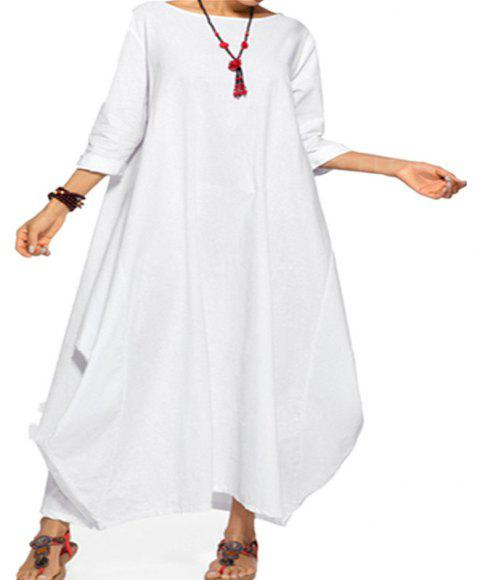 Large Long-Sleeved  Pretty Dress - WHITE 2XL
