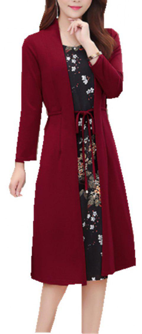 Loose Beautiful Mom Dress - RED WINE L