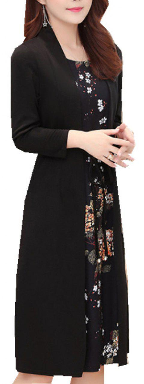 Loose Beautiful Mom Dress - BLACK 3XL