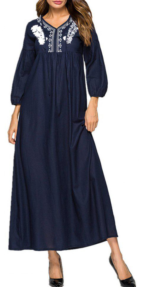 Beautiful Dress with Flowers Embroidered On It - DEEP BLUE XL