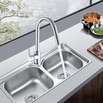 Hot and Cold Rotary Drawing Kitchen Faucet - SILVER 1PC
