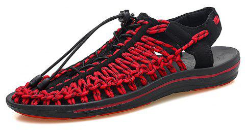 Summer Men's Shoes Hand-woven Leather Casual Sandals Sand Sneakers Wading - RED EU 46