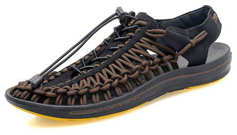 Summer Men's Shoes Hand-woven Leather Casual Sandals Sand Sneakers Wading - OAK BROWN EU 41