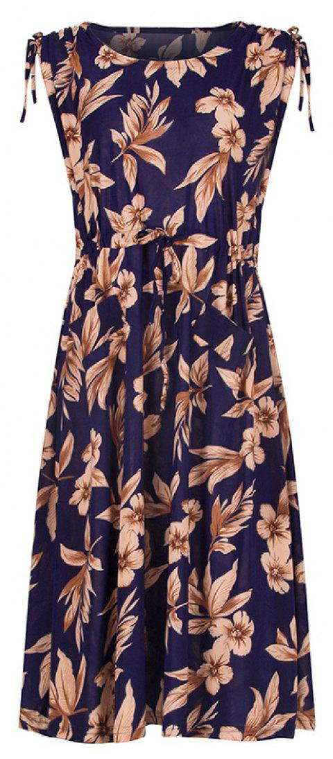 Long Sleeveless In Floral Dress - MIDNIGHT BLUE 3XL