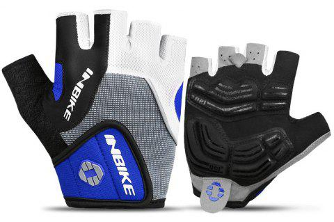 INBIKE Cycling Half Finger Gants Hommes Femmes Mountain Bike 5MM Gel Shock-absorber - Bleu M