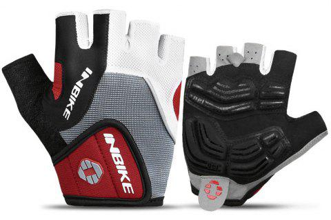 INBIKE Cycling Half Finger Gloves Men Women Mountain Bike 5MM Gel Shock-absorb - RED XL