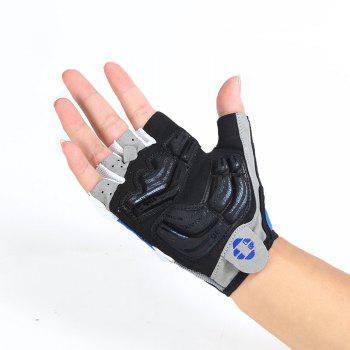 INBIKE Cycling Half Finger Gloves Men Women Mountain Bike 5MM Gel Shock-absorb - BLUE L