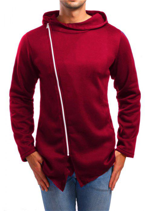 Men's Asymmetric Casual Stand Collar Zip Sports Hoodie - RED 2XL