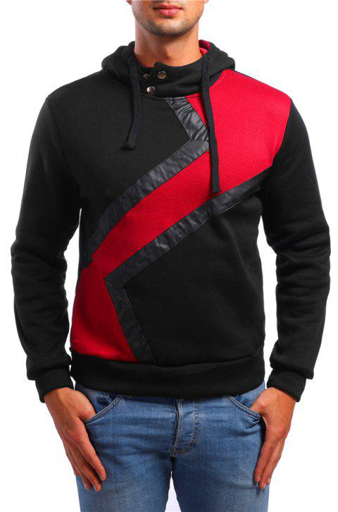 Men's Casual Hit Color PU Decorative Sports Hoodie - BLACK M