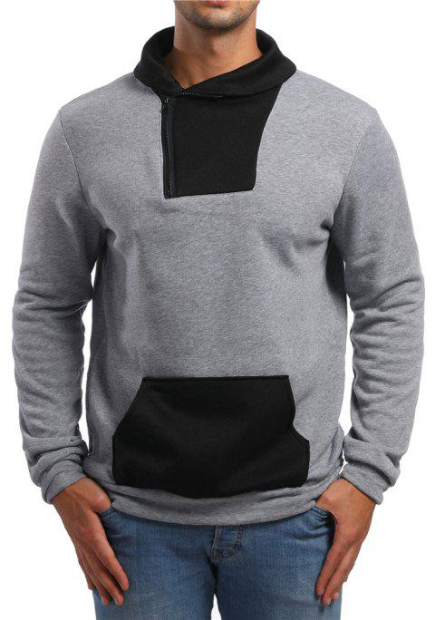 Men's Casual Color Sleeve Long Sleeve Sweatshirt - LIGHT GRAY L
