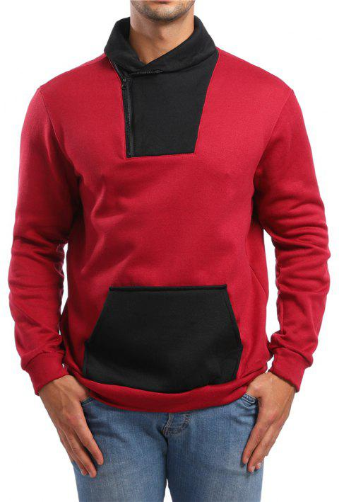 Men's Casual Color Sleeve Long Sleeve Sweatshirt - RED L