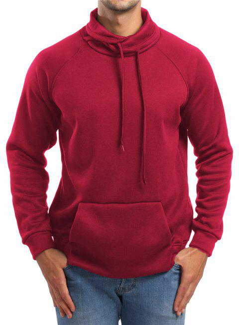 Men's Casual Raglan Sleeve Solid Color Turtleneck Sweatshirt - RED L