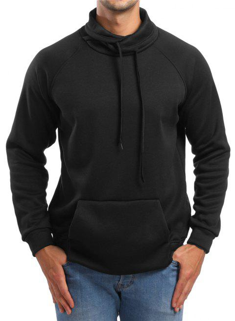 Men's Casual Raglan Sleeve Solid Color Turtleneck Sweatshirt - BLACK M