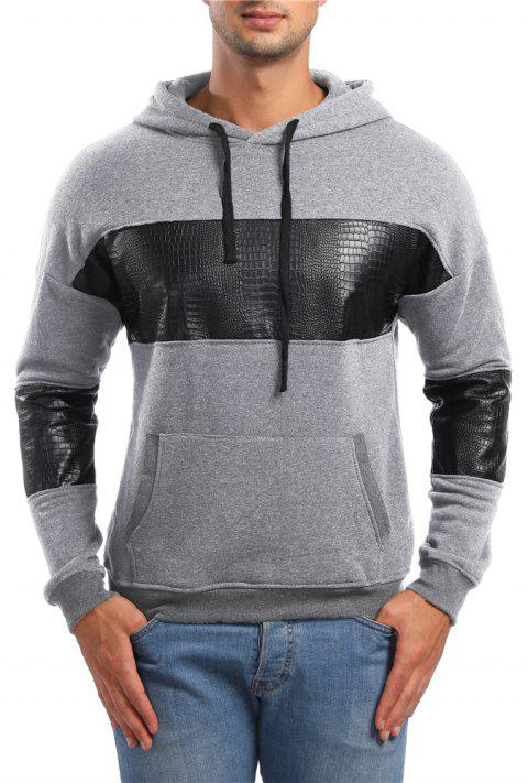 Men's Casual Leather Long Sleeve Hoodie - LIGHT GRAY M