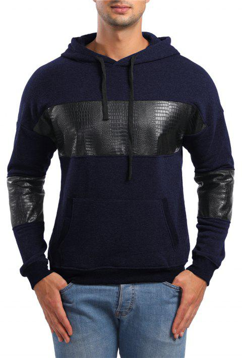 Men's Casual Leather Long Sleeve Hoodie - CADETBLUE L