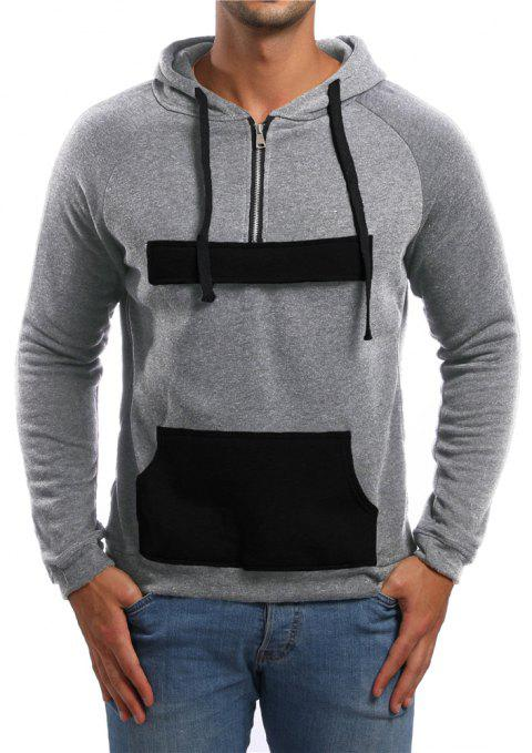 Men's Casual Zipper Pocket Color Block Long Sleeve Hoodie - LIGHT GRAY 2XL