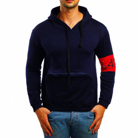 Men's Casual Digital Embroidered Long Sleeve Hoodie - CADETBLUE L