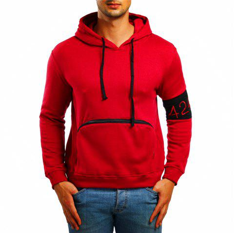 Men's Casual Digital Embroidered Long Sleeve Hoodie - RED M